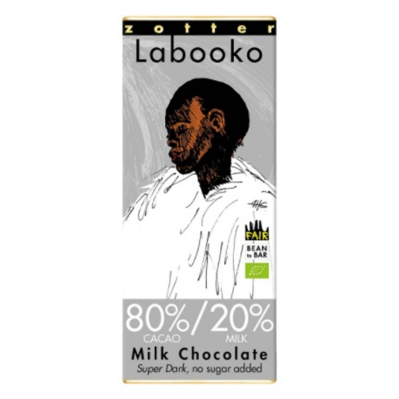 Zotter Labooko 80% / 20% Milk Chocolate Super Dark (suikervrij)